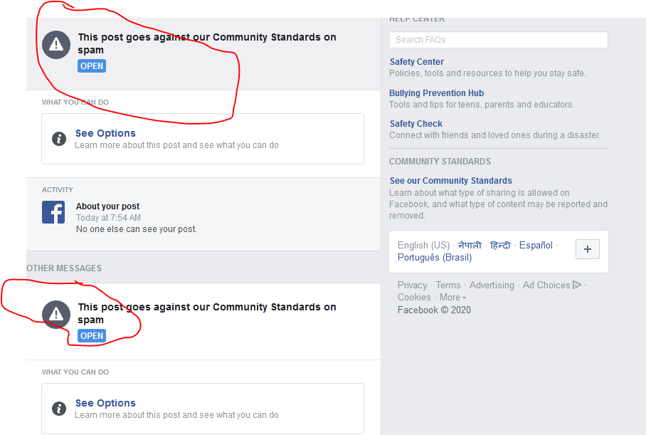 Finally I got community Standards to spam on Facebook