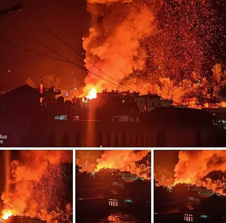 Fire at Fungling Bazaar in Taplejung