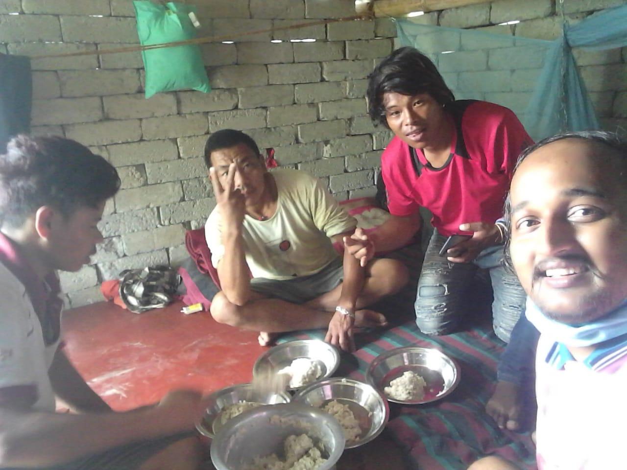 Taking Dahi chiura with Friend at Ashar 15