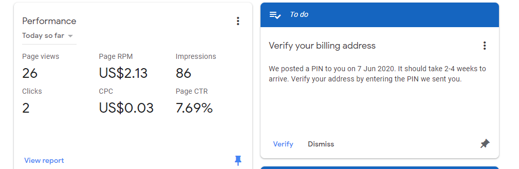I cannot receive 2nd pin request form Adsense