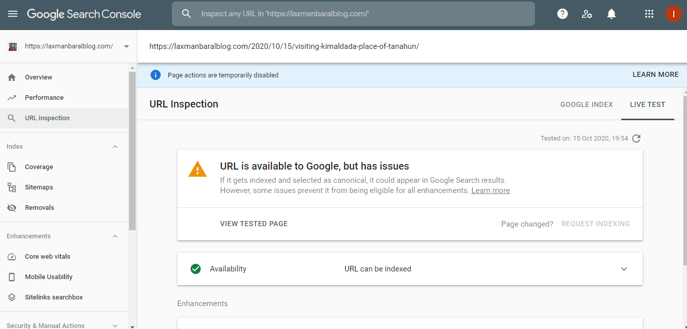 Google Search Console page was Temporarily Disable