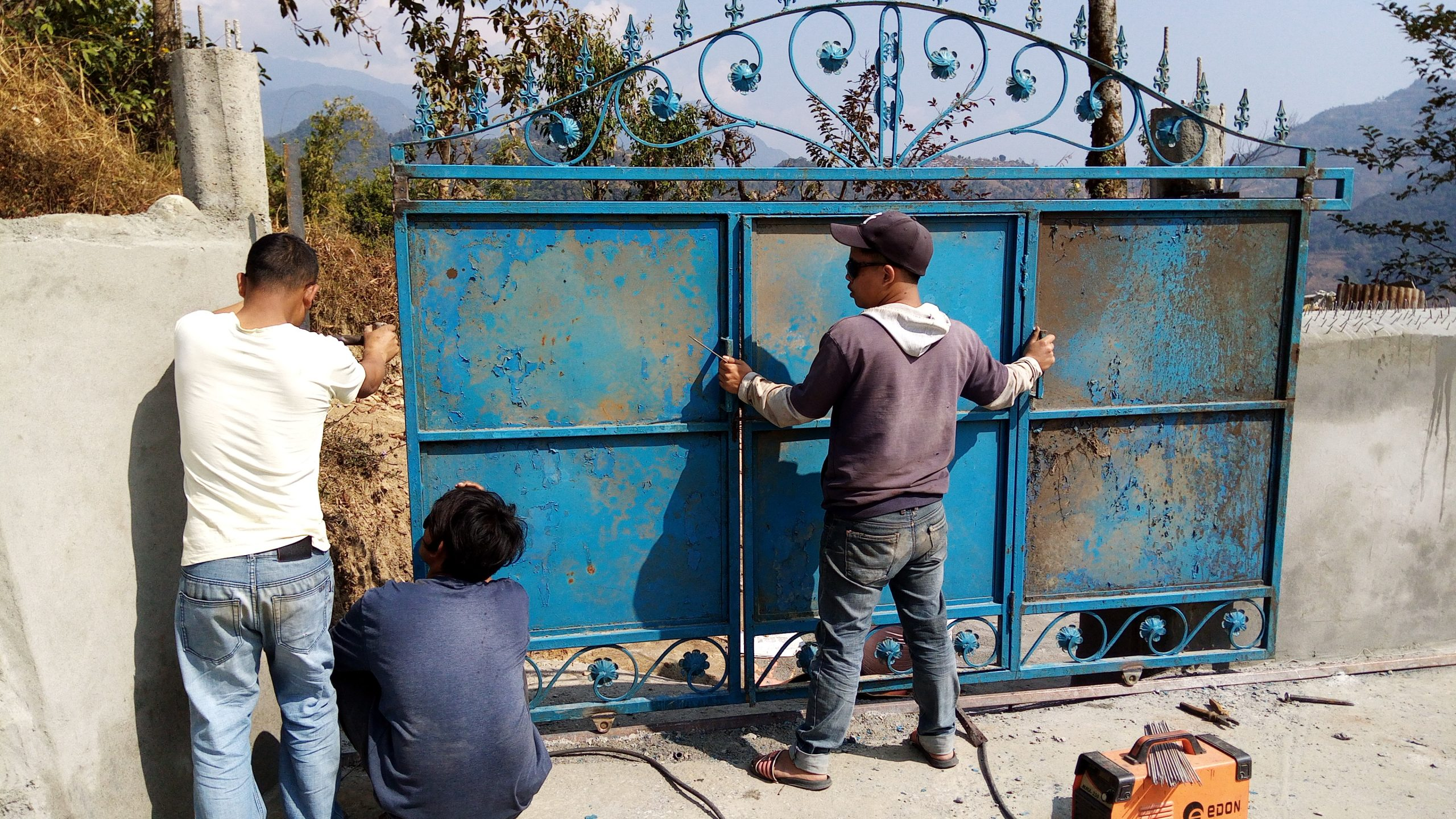 Making Fitting Gate in New House in Pokhara